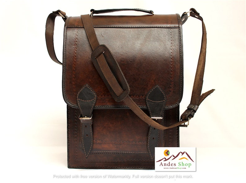 SALE 10% OFF Genuine Leather Briefcase Leather Messenger image 0