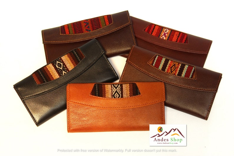 SALE 10% OFF Genuine Leather Wallet Aguayo Bolivian Peruvian image 0