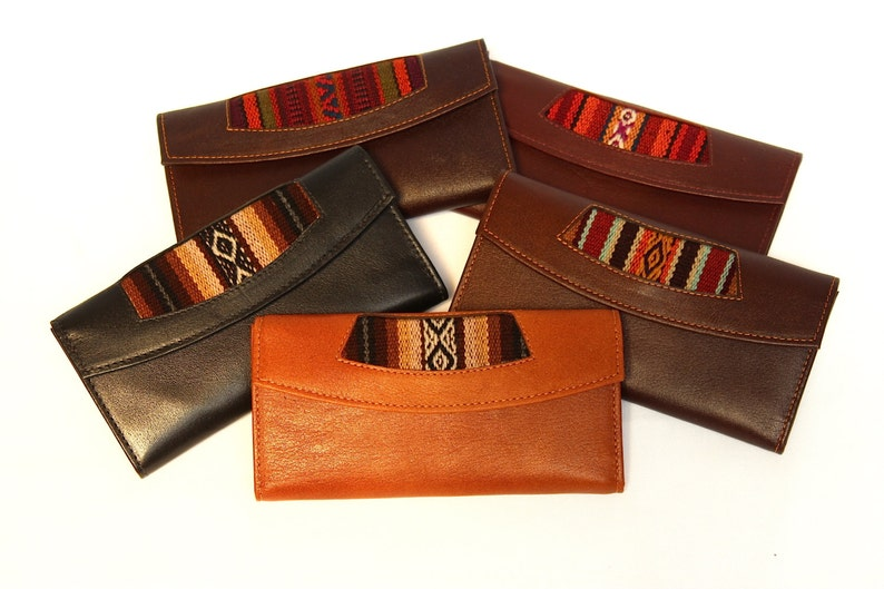 SALE 15% OFF Genuine Leather Wallet Aguayo Bolivian Peruvian image 0