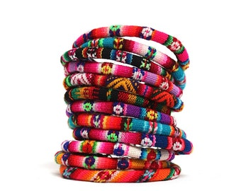 SALE 15% Off* SET of 4 BOHO Andean Colorful Bracelets, Handmade Tribal Ethnic made of Aguayo (Bolivian Peruvian fabric)