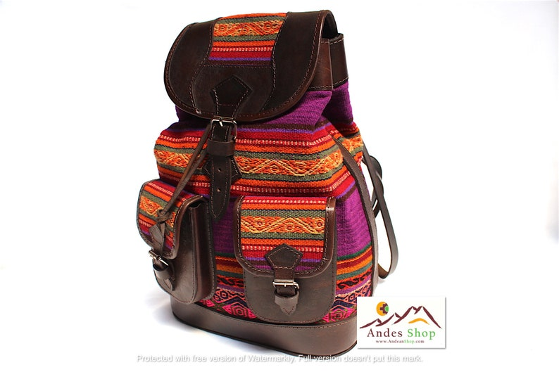 SALE 10% OFF Ethnic Andean Handmade Brown Genuine Leather image 0