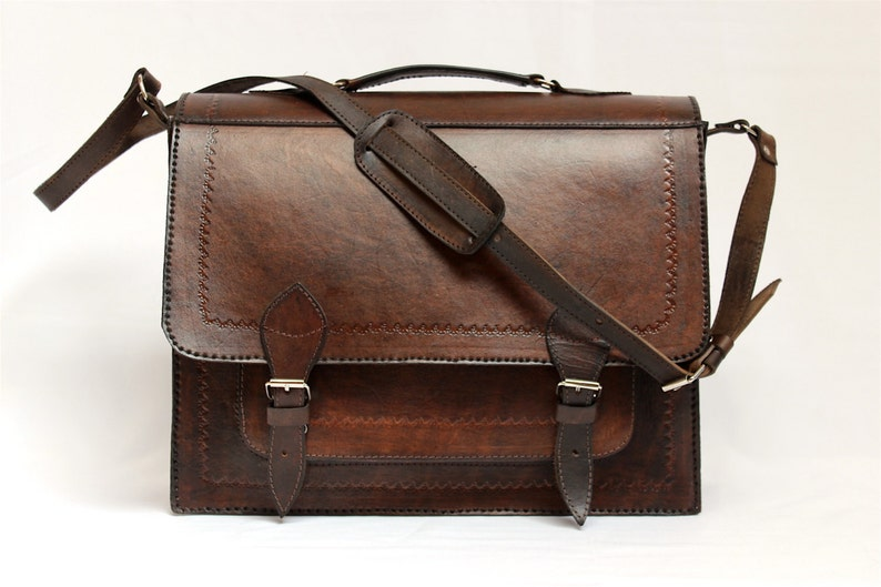 SALE 15% OFF Genuine Leather Briefcase Leather Messenger image 0