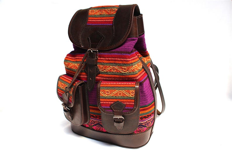 SALE 20% OFF Ethnic Andean Handmade Brown Genuine Leather image 0