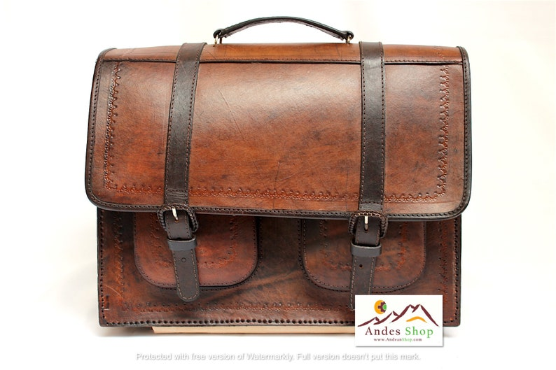 SALE 10% OFF Genuine Leather Briefcase Backpack Leather Bag image 0