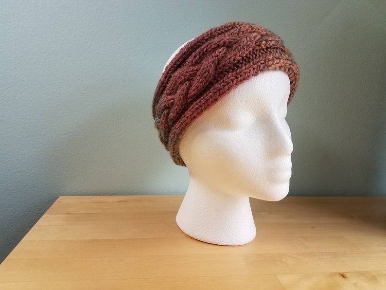 Braided Wool Winter Headband Ear Warmer in Autumnal Colors