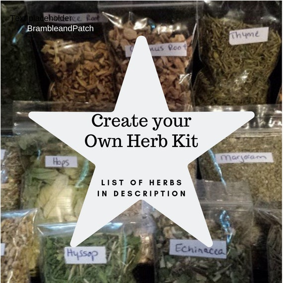 Create Your Own Herb Kit- Herbs, Roots, Berries, Wicca, Witchcraft, Barks,  Starter Kit, 2x3 inch bags  **HERB LIST in Description**