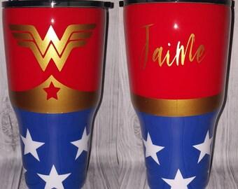 Wonder Woman Tumbler Etsy