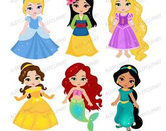 princess clipart etsy rh etsy com princesses clip art princess clip art