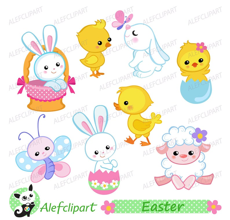 Easter clipart Easter Bunny and Chicks Clipart. Digital   Etsy