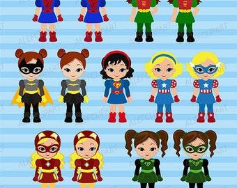Clipart  Supergirls, Superhero Clipart Girls Bundle Superhero Girls Supergirl Set 2