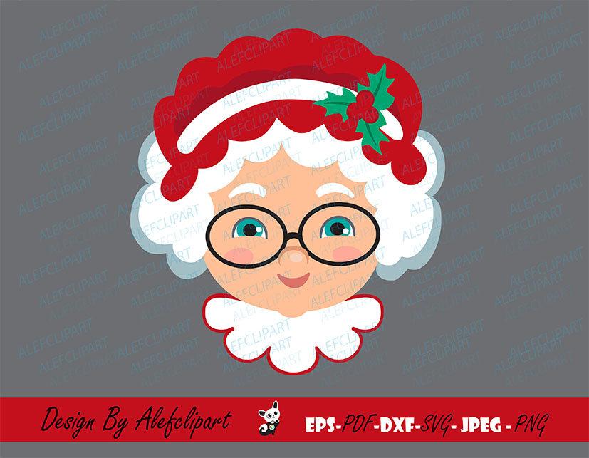 Frau Weihnachtsmann Gesicht SVG Eps Jpg Weihnachten Frau | Etsy
