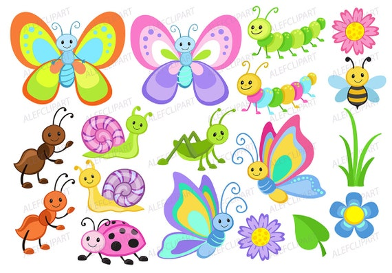 Bugs clipart Cute Bugs Clipart Coloring Clipart Set | Etsy