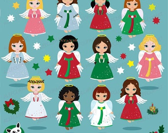 Christmas Angels Clipart , Angel Clipart, Christmas Clipart, Holidays Clipart