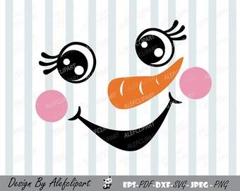 Snowman face,Christmas snowman, Cute Snowman SVG, Christmas Silhouette Cut Files, Cricut Cut, Personal and Commercial Use