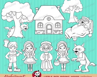 50% OFF SALE  Little Red Riding Hood coloring clipart. Stamp.Blackline clipart.