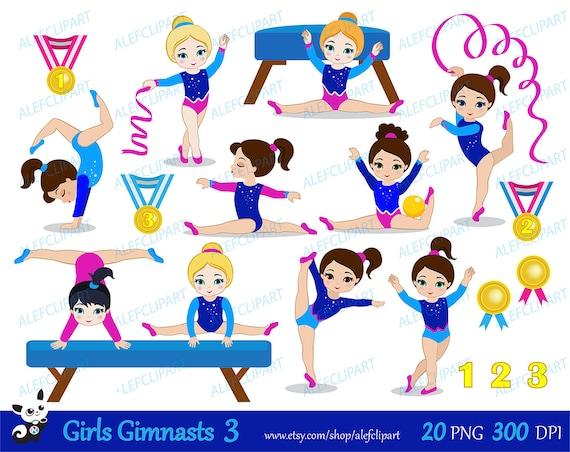 Gymnastique Filles Digital Clipart Set 3 Personal And Etsy