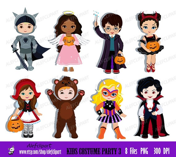 Kids Costume Party 3 digital clipart Cute Halloween costume   Etsy