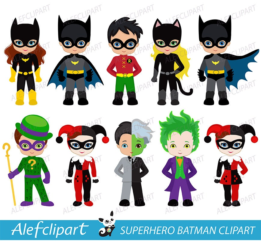 Clipart Superhero Digital Clipart Superhero Clipart   Etsy
