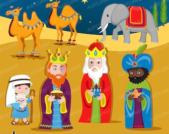 Nativity Scene 2- Clip art and digital paper set - Three Wise kings clipart