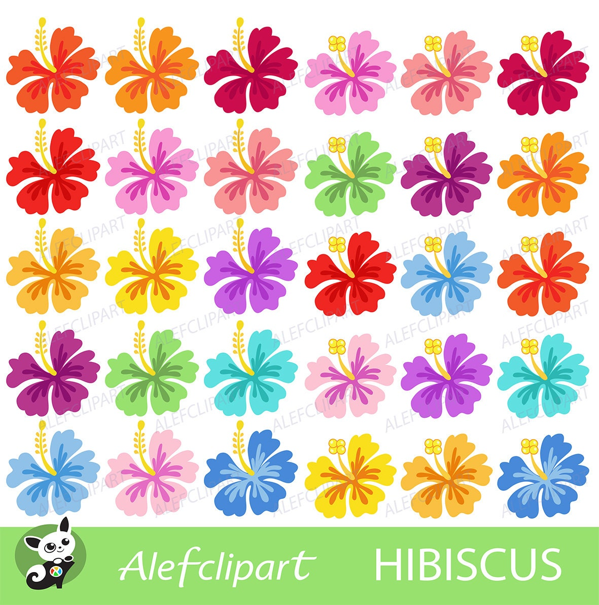 Hibiscus Clipart Hibiscus Digital Clipart Hawaiian Flower Etsy