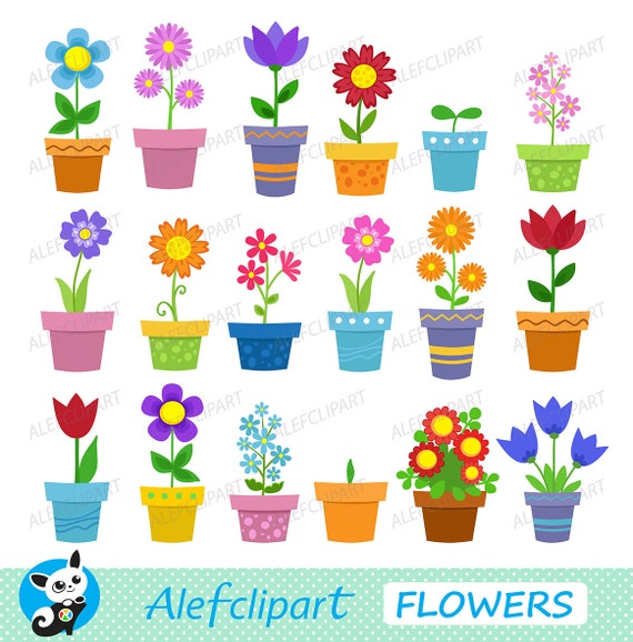 Clipart Flowers In Pots Clip Art Digital Clipart Instant Etsy