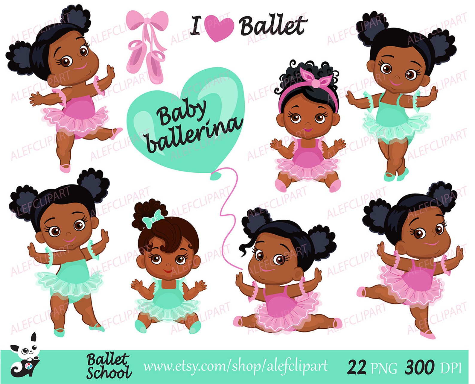 ballet - baby ballerina clipart, ballet clipart, african american baby ballerinas.pink and mint.for personal and commercial use.