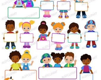 Kids clipart,  Kids with Signs. Bricht Kids .Frame Board. Clipart.