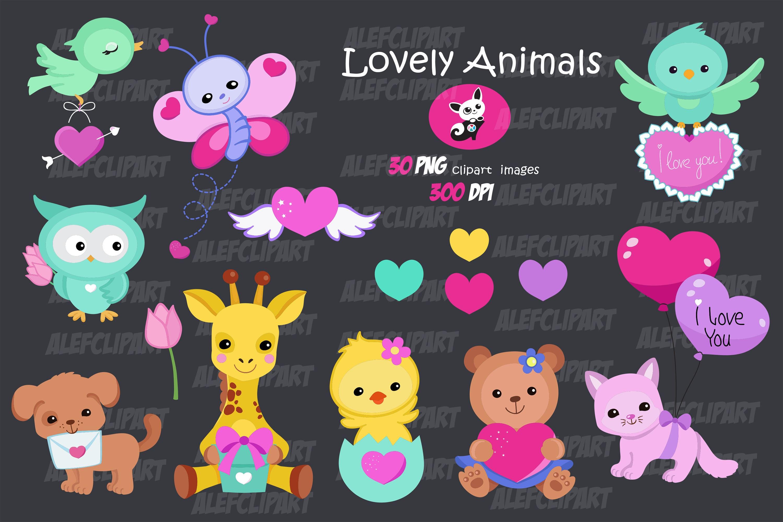 Lovely Animals Valentine Clipart Digital Clipart Set Bear ...