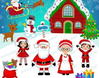Christmas Digital Clipart, Christmas Clipart, Santa Clipart, Mrs claus , Santa Claus Clipart.
