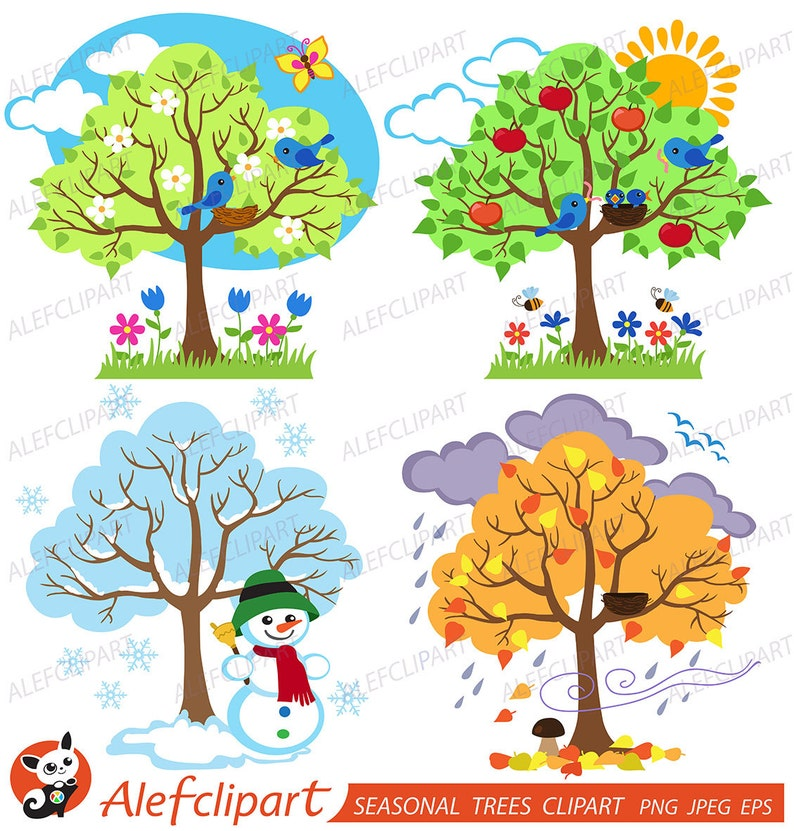 Four Seasons Trees Clipart Seasonal Trees And Birds Clipart Etsy