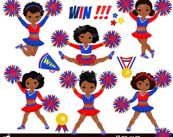 Maroon Black and White Cheerleader Digital Clipart Set for
