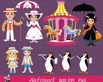 Mary Poppins Clipart, Mary Poppins Clip Art, London Clipart, England Clipart