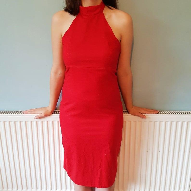 2995d19f3cb Red wedding guest dress summer evening midi dress