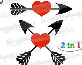 Arrow heart svg - Valentine Svg -2 Valentine hearts - arrow and heart  SVG file -Silhouette Cut Files - DIY- Svg - Dxf- Eps - Png -Jpg - Pdf