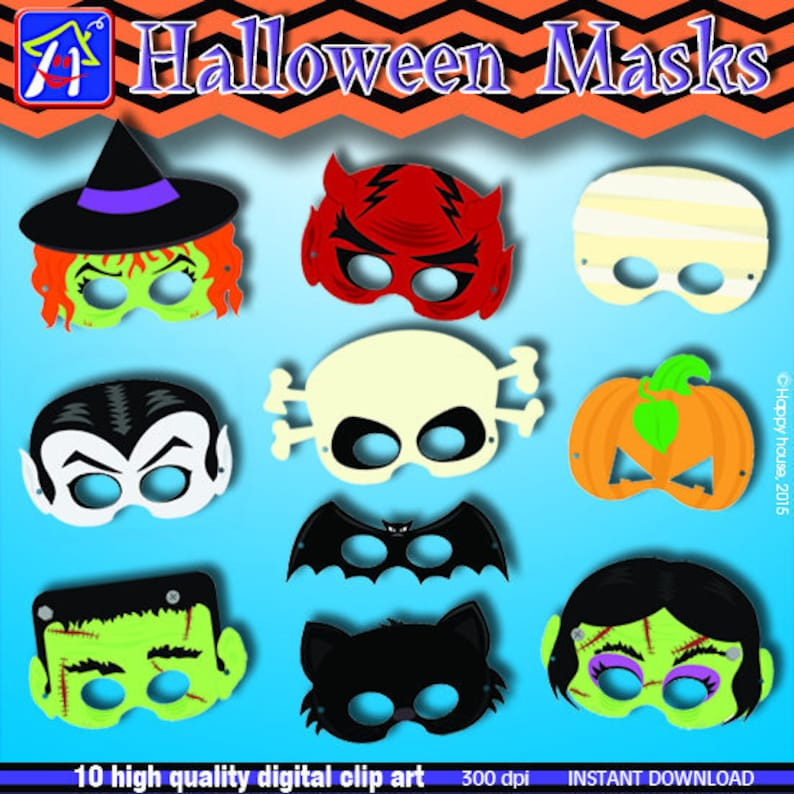 graphic relating to Halloween Craft Printable named Halloween Celebration Masks printable, Halloween craft for youngster - Do-it-yourself Halloween Electronic Clip Artwork Pack, Halloween mask Do it yourself, Printable Halloween mask