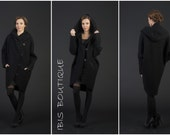 Black oversize wool woman cardigan , long stylish maxi cardigan, plus large sizes, elegant warm overcoat loose coat, large hood