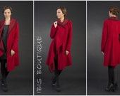 Long red woman winter cardigan, 100 wool maxi winter overcoat, large plus sizes, Christmas gift, asymmetric elegant , gift for her