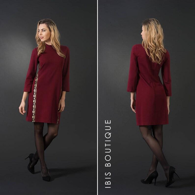 7575fd41d02 Robe élégante femme rouge foncé robe moulante plus   grandes