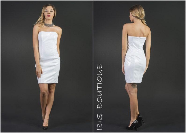 04a6e54a56eda Courte robe de femme blanche Bianchi robe tube bustier robe