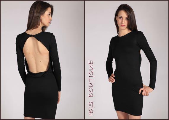 Black Elegant Backless Woman Dress Plus Sizes Large Sizes Etsy