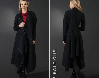 Black maxi winter coat, woman wool coat, large / plus sizes, elegant asymetric winter jacket, sweater coat, warm coat, large collar, flared