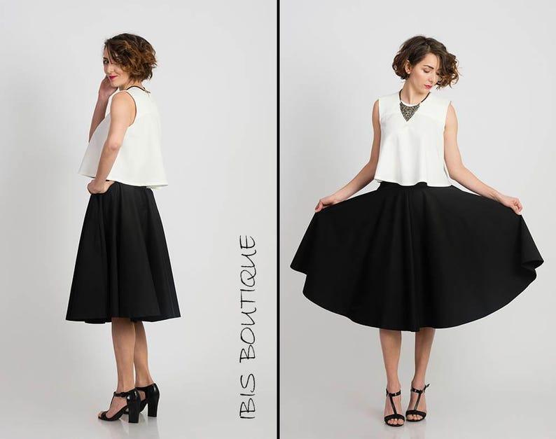 efd2124c755600 Flared black woman skirt elegant knee length skirt plus | Etsy