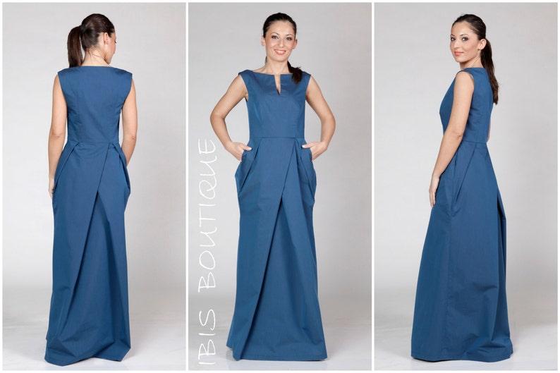 c1e43916477a Abito donna lungo del bllue abito estivo elegante   elegante