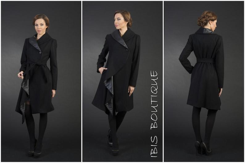 Nero cappotto invernale donna cappotto donna elegante  2f1fb69628a1
