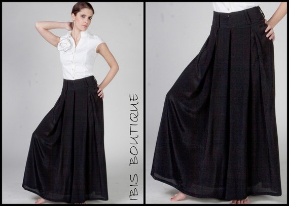 Loose black woman Palazzo pants, high waist pleated wide leg trousers, plus  large sizes, Japanese style, spring / autumn, long sexy pants