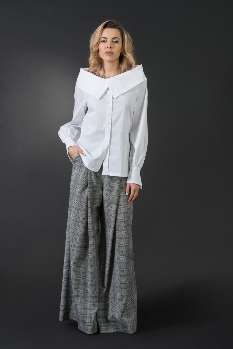 cheaper a1162 a2c96 Camicia donna bianca elegante camicia donna collo a v, top moderno,  camicetta sexy, Taglie grandi, grandi formati, camicia donna maxi, lunga  manica ...
