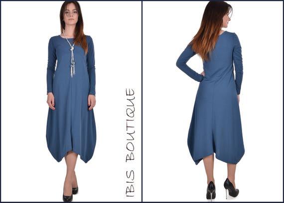 a6302384c70cb Blue woman maxi dress plus sizes / large sizes autumn /   Etsy