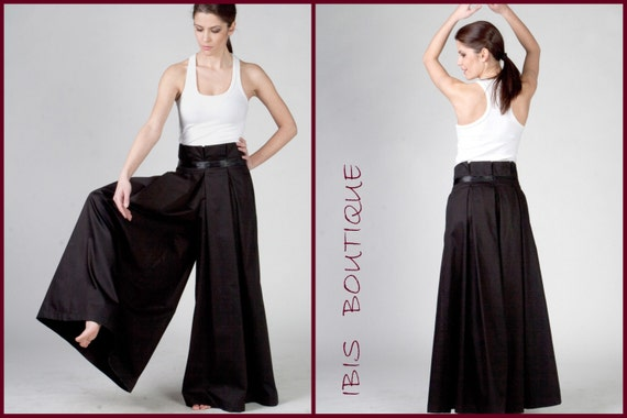 Black woman Maxi Pants / palazzo pants, high,waist wide,leg trousers, plus  sizes / large sizes, long / elegant pants, Asian / Japanese style