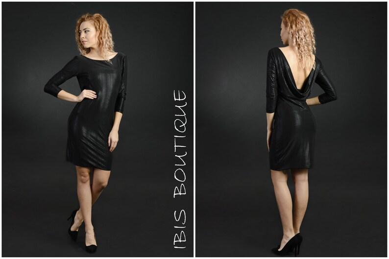 493be53a8f3b Piccola donna nero scollato abito da cocktail splendente