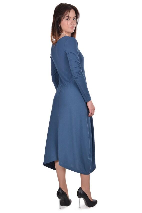 Blue woman maxi dress plus sizes   large sizes autumn    6d145faed